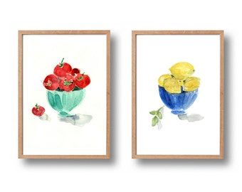 Two kitchen art, 2 prints set, Tomatoes in bowl print, Lemons in bowl print, 2 kitchen art print, watercolor print, home decor, colorful art