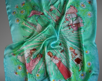 Hand painted silk scarf. Turquoise and mint green scarf. Silk shawl scarf. Fairy tale silk scarf. Square silk scarf. Ready to ship.