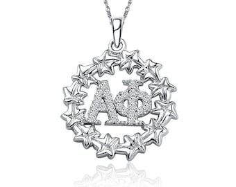 Alpha Phi Necklace, Ivy Leaf Design, Sterling Silver (AP-P006)