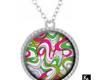 Necklace silver color with round pendant + chain pattern waves (46)