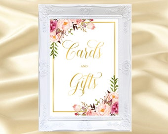 cards and gifts sign printable floral cards and gifts sign gold cards and gifts sign boho cards and gifts sign rustic cards and gifts,31g