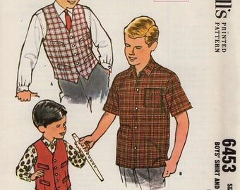 Free Us Ship Sewing Pattern Vintage Retro 1960s 60s Boys Shirt Vest Uncut Like New Sewing Pattern Size 14 McCalls 6453