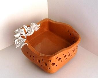 Ceramic centerpiece. Terracotta.