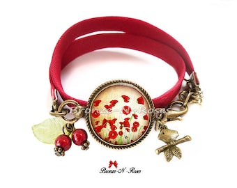 Bracelet poppies garden nature flowers red cabochon gift
