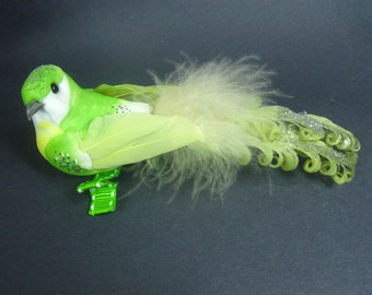 Green Bird Hair Clip, Gift for Her, Garden Wedding, Hair Accessories, Fascinator, Party Hair Clip