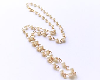 Pearl Necklace, Faux Pearl Bead Necklace, Golden White Pearl Necklace, Elegant Necklace, Statement Necklace, Pearl Jewellery