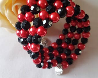 Pretty Memory Wire Beaded Bracelet