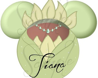 Princess (and the Frog) Tiana Green Dress inspired character DIGITAL Printable file DIY