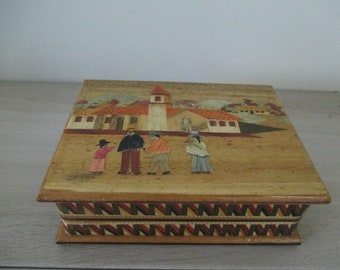 Hand Carved Inlaid Wooden Box Countryside Scene Jewelry Box Knick Knack Box