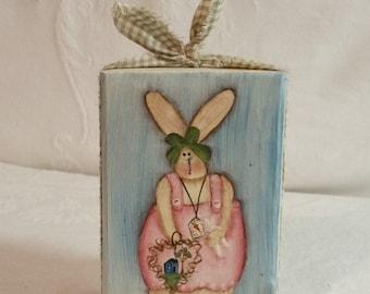 Bunny Rabbit Shelf Sitter, Primitive, Folk Art, Hand painted