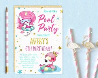 Pool Party Invitation, Pool Birthday Party Invitation, Pool Party Invitations, Pool party invites, Pool party invite, Pool themed party,