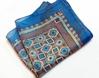 Blue silk pocket square, hand painted  silk gray pocket square, wedding OOAK gift  for him, Groomsmen accessories, mens handkerchief