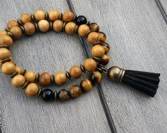 Tigers Eye and Nangka Wood 27-Bead Mala Bracelet - Meditation Bracelet - Wrist Mala - Mala Beads - Intention Beads