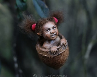 Pixie girl Lizzy handmade decoration black girl