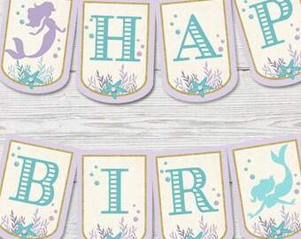 Mermaid Birthday Banner PRINTABLE, Mermaid Party Decoration, Little Mermaid Banner, Mermaid Birthday Party, Mermaid Party Decoration