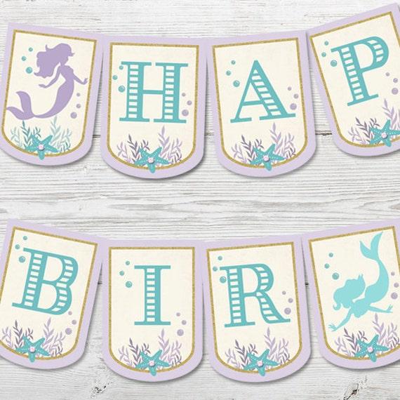 Mermaid Birthday Banner PRINTABLE Mermaid Party Decoration
