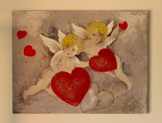 Articoli simili a Grande dipinto angeli cuori. Dipinto angioletti ...