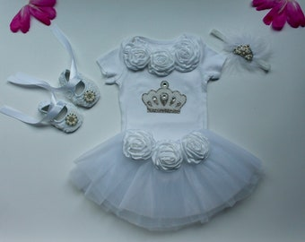 White tutu outfit...newborn take home outfit..1st Birthday outfit...White tutu...Baptism outfit..