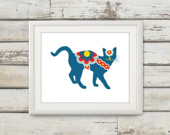 Swedish Dala Cat, Swedish Horse, Cats Art, Cat Decor, Cats, Swedish Dala Horse, Cat Wall Art, Home Decor, Cat Print, Single Print Listing