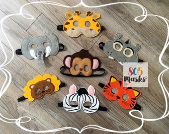 Zoo Animal Masks Kids Masks Kids Costumes Monkey Mask Zebra Mask Giraffe Mask Tiger Mask Halloween Costume Elephant Mask Kids Pretend Play