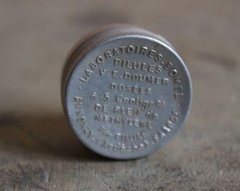 Metal aluminum, pharmaceutical, rare, lost, Doumer old pill box