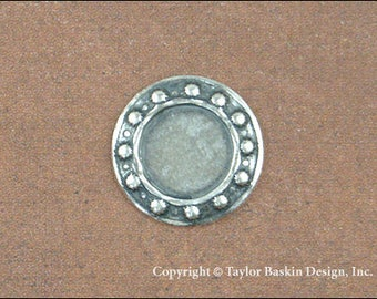 Brass Beaded Circle Bezel in Antiqued Silver Plate (item 313 AS) - 6 Pieces