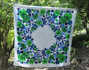 Small Square Retro Tablecloth with green and blue flowers