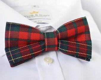 Tartan Bow Tie | Men's Bow Tie| Pre-Tied Bow Tie | Red Bow Tie | Bow Tie for Men | Retro Bow Tie