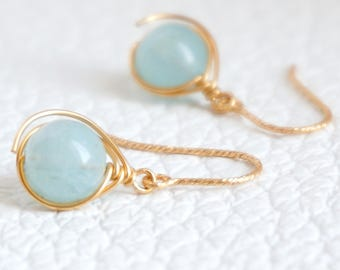 Wire Wrapped Natural Aquamarine Earrings, March Birthstone Earrings, Cruise Working Jewelry, Crystal Healing, Gift for her, b96
