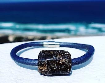 Baltic Amber Leather Bracelet, Black Organic Amber, Amber Jewelry