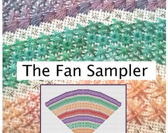 The Fan Sampler by Wending Stitches. Specialty Stitches Band Sampler. Emailed PDF