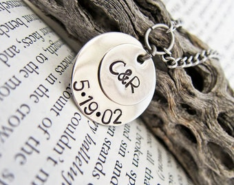 Hand Stamped Necklace with Date of Birth - Custom Mommy, Mummy, Mother Dainty Pendant - Two Discs