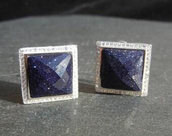 Sterling Silver 925 blue sand stone earrings