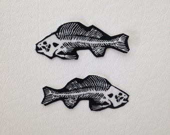 Fish skeleton bones set of two patch