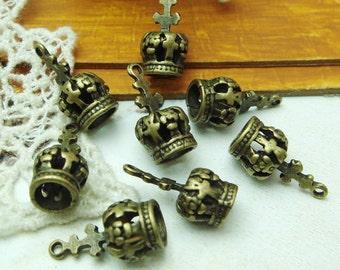10pcs Antique Brass  Crown  Pendant Charm,Nickel Free (9X18MM)