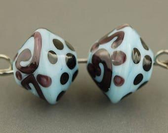 Glass Bead Set / Handmade Beads / Blue / Purple / Polka Dots / Earring Components / Handmade Supplies