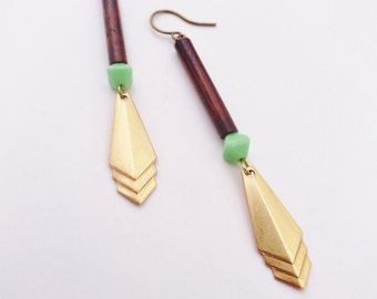 The Warrior - Brass, Mint Glass and Wood Earrings