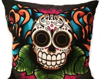 Sugar Skull Pillow - Day of the Dead Style - Día de Muertos - Decorative Throw Pillow