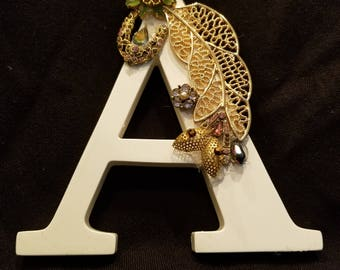 "Jeweled Initial ""A"" Made With Repurposed Vintage Jewelry.  One Of A Kind."