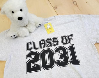 Class of 2031 and Optional Grades K through 12th for Handprints on Back for kids starting Pre-K or Kindergarten on Youth or Adult T-shirts