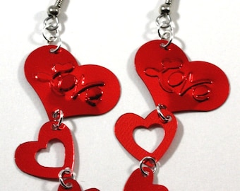Valentines Day Earrings Love Heart Earrings Red Hearts Dangling Metallic Confetti Earrings Plastic Sequins