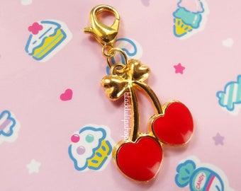 Cute Planner Charm Traveler's Journal Charms Heart Charm Zipper Pull Bag Charm Cherry Hearts