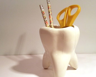 Handmade Ceramic Tooth Planter. Vintage mold. Gift for dentists, dental students. Perfect for desk pens & pencils