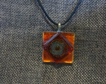 Black and Orange glass square pendant