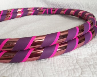 Pink Lotus Dance & Exercise Hula Hoop COLLAPSIBLE or Push Button - coral purple neon pink