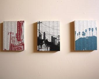 Los Angeles Art - Los Angeles Print Set - Ready to Hang Artwork - California Art Prints - Book Page Art