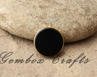 Black Onyx 16mm Round Both Side Flat Smooth 925 Sterling Silver Gold Plated Bezel Pendant