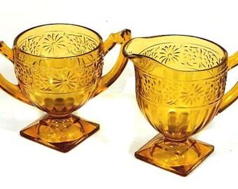 Depression Glass Amber Indiana Glass Daisy Creamer and Sugar Bowl