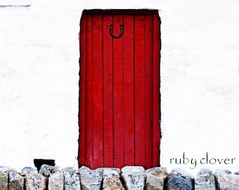LUCKY RED DOOR, Ireland Photography, Irish Cottage, Co. Donegal, Superstition,Irish Folklore, Good Luck Card, New Home Card, White Cottage,