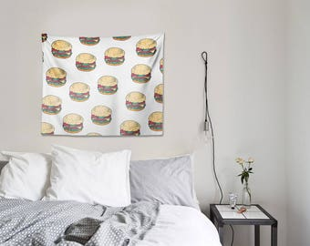 Burgers Wall Tapestry , Burger , Burgers , Wall art , Burger Wall Art , tapestry , Housewares , Office Decor , Home Decor , white , food